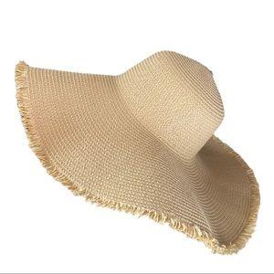 Wide Brim Floppy Straw Look Summer Hat